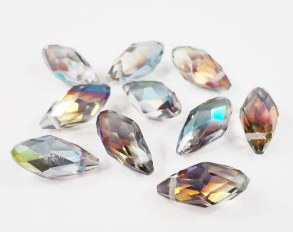 Vitrail Crystal Beads 12x8mm (8x12mm) Briolette Crystal Beads, Multi Color Chinese Crystal Drop Beads, Faceted Glass Teardrop Beads, 10pcs