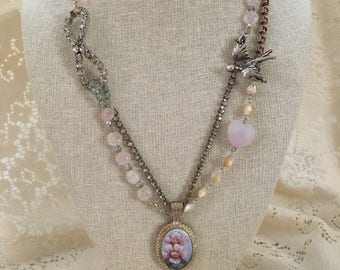 Vintage and Beaded Assemblage Charming Pink Rose Necklace