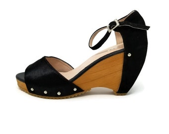 Venice Leather Shoes- Black Leather-Cow Hair  -Wooded wedge Sandal-Women Sandal- Platform Shoes-Genuine Leather- Ankle Strap- Handmade Shoes