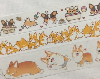3 Roll of Limited Edition Washi Tape- All About Corgi