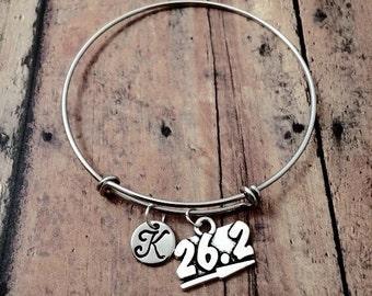Marathon runner 26.2 initial bangle- runner jewelry, marathon bangle, 26.2 bangle, gift for runner, sports jewelry, 26.2 charm bracelet