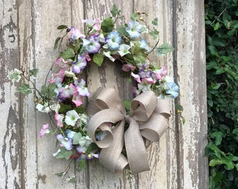 Morning Glory Wreath,Morning glory Wreath,Double door Wreath,Front door Wreath,Spring Wreath,All Year Wreath,Door wreath,Summer Wreath