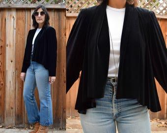 Vintage 90s BLACK VELVET Capelet Style Sweater S M