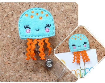 Jellyfish Badge Reel, Summer ID Badge Reel,  Blue Felt Badge Reel, Retractable Name Holder, Planner Clip, Magnet, Pin,  333