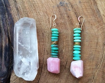 Peruvian Pink Opal Earrings / Chrysoprase Earrings / Bohemian Earrings / Gemstone Earrings