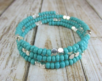 Turquoise Memory Wire Bracelet, Turquoise Cuff, Teal Seed Bead Bracelet, Turquoise Bangle, Southwest Cuff, Mothers Day Gift