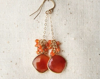 Carnelian Earrings, Orange Earrings, Gemstone Jewelry
