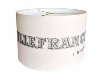 LARGE Linen Villefranche-sur-Saone Lamp Shade - Ivory and Grey Lampshade - 13 14 15 Inch Large Drum Lamp Shade - Custom Lamp Shade
