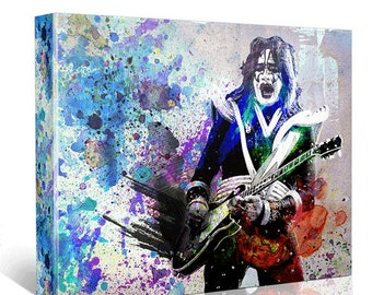 Ace Frehley Canvas Art, KISS Original Painting Art Print