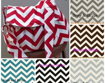 Custom Chevron Messenger Bag - 3 pockets - key fob - adjustable strap