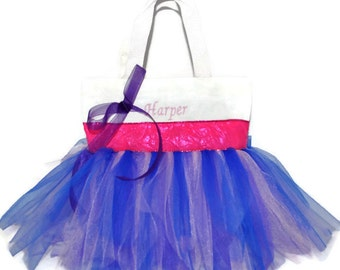White Tutu Bag, Dance Bag, Hot Pink Ribbon, Name Embroidered on the Bag. Personalized Girl, Ballet Bag, Dance Class Bag,Party Favors