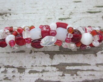 Handmade Alabama Red and White Beaded Barrette Free Shipping