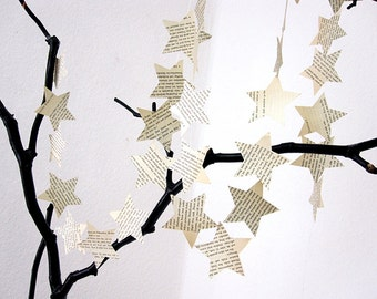 star garland made of vintage book pages, paper garland, paper decoration, upcycled christmas decoration