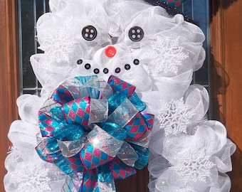 XL Mesh Snowman Wreath