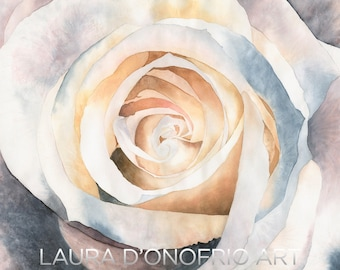 Rose Watercolor Giclee Print, Artwork by Laura D'Onofrio