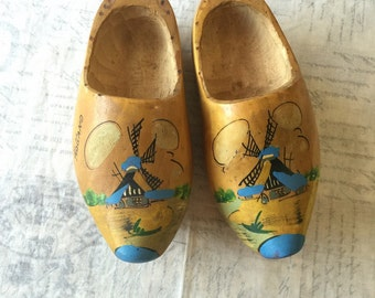 Vintage Wooden Holland Souvenir Clogs / Stamped Made in Holland