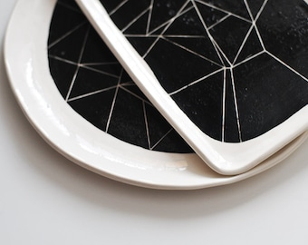 BW white ceramic platter with black geometry ornament abstract pattern contemporary minimalism style black and white