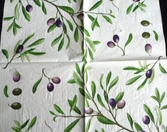 Paper towel olive on white background