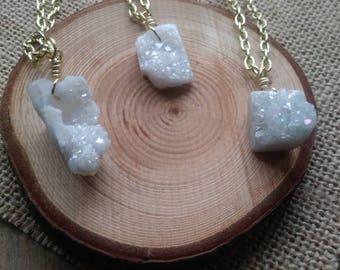 Druzy quartz necklace / auraquartz / crystal necklace
