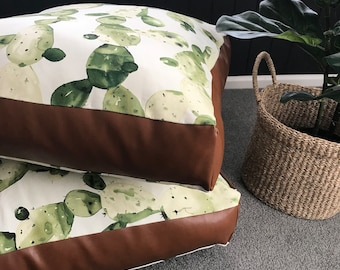 Cactus Ghost with Copper Tan faux leather panelling square floor cushion cover