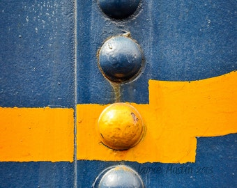 Blue and Yellow Rivets 8x12 Fine Art Photograph - Abstract, Macro