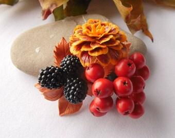 marigold brooch rowan brooch blackberry pin polymer clay jewelry gift for her marigold pin fall jewelry autumn jewelery rowan pin natural