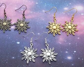 Sun Earrings, Sunshine Earrings, Space Jewellery, Outer Space Jewelry, Geeky Jewellery, Cute Earrings, Galaxy Earrings, Sun God Jewelry