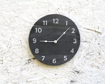 Gray clock. Wood Clock. Round Clock. Gray and white. Cottage Chic Shabby Chic Gift idea...distressed...Coastal Decor