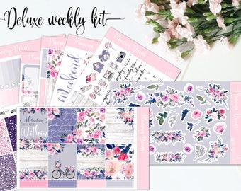Planner stickers || Emily DELUXE kit || 8 sheets + glitter headers - Erin Condren life planner vertical || Happy Planner, floral stickers