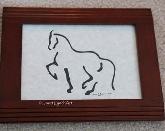 Horse - Scherenschnitte - Hand Paper Cutting Art signed and dated By Janet Lynch - Framed