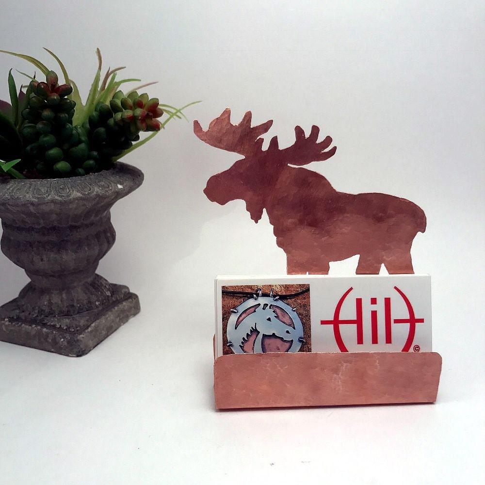 Moose Business Card Holder Hammered Copper Desk Accessories