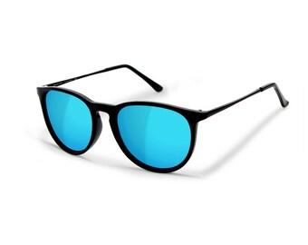 Sensolatino® Polarized Sunglasses Polarized Sunglasses Series Paris Shine Black Frame With Ice Blue Mirrored Lenses