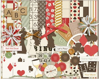We Got Game Digital Kit - Digital Scrapbooking Page Kit for game night, cards, chess, dominoes - INSTANT DOWNLOAD