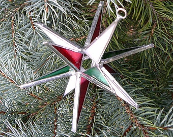 Tri-color Stained Glass Moravian Star - Opaque White