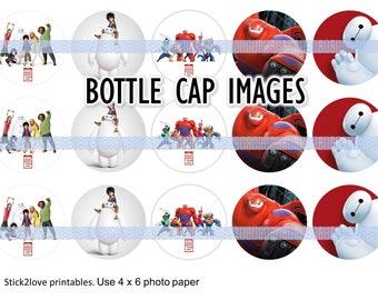 "Big Hero 6 4x6 - 1"" circles, bottle cap images digital file jpg instant download"