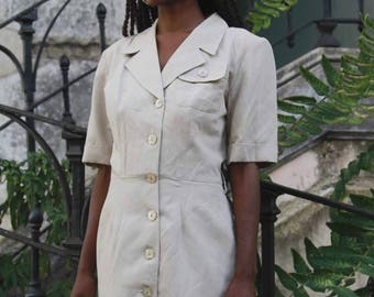 Khaki Short Shirt Dress