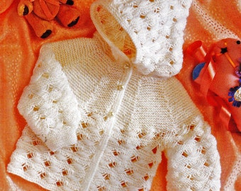 Baby Knitting Pattern, Hooded Baby Sweater Knitting Pattern, Newborn Knitting Pattern, 4 Ply Knitting, INSTANT Download Pattern PDF (2329)
