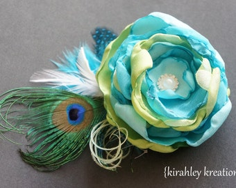 SHIP READY Teal Lime Green White Handmade Flower Feather Rhinestone Bride Hair Clip Mothers Brooch Bridesmaid Wedding Wristlet Prom Corsage