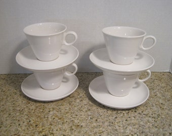 """Mid Century Franciscan Whitestone """"Cloud Nine"""" 4 Cups and 4 Saucers Japan"""