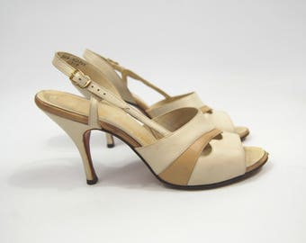 50s 60s Leather Stilettos // size 8 //  Slingback Open Toed Pumps - Beige and Ivory heels Tan and Beige 1950s 1960s