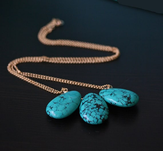 Turquoise Necklace, Bib Necklace, Long Turquoise Necklace, Long Necklace, Layering Necklace, Statement Necklace, BigTurquoise