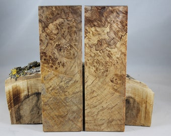 2 pcs Stabilized Maple Burl Knife Scales (217)