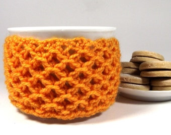 KNITTING PATTERN Cozy Cup Coffee - Sweet Morning - Knit Mug Cozy Sleeve Pattern Tea Cozy Photo Tutorial Pdf File Instant Download