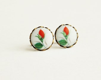Red Rose Cameo Earrings Vintage Red Flower Studs Hypoallergenic Rose Jewelry Victorian Cameo Romantic Vintage Style Jewellery