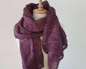 Purple Woman Scarf - Lightweight Cotton Scarf - Trendy Wrap - Aubergine Fashion Woman Scarf - Handmade Scarves - Plum Head Scarf