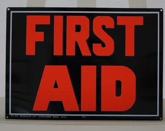 First Aid Vintage Metal Sign HY-KO Products Cleveland Aluminum
