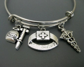 Nurse Bracelet / Nurse Bangle / Medical Assistant Bangle  / Nurse Graduation Gift  / Nursing Student / Charm Bracelet / Adjustable Bangle