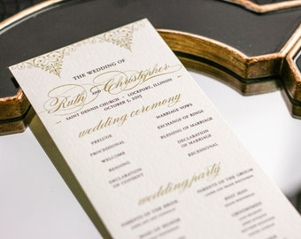 "Gold Invitations, Formal Wedding Programs, Indian Programs, Classic and Elegant Programs - ""Delicate Filigree"" Flat Program - DEPOSIT"