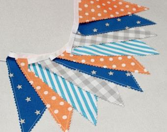 Flag Bunting, Fabric Garland, Orange, Bleu, Gray, Space Party Decor, Baby Nursery Bunting, Pennant Banner,  Nursery Decor