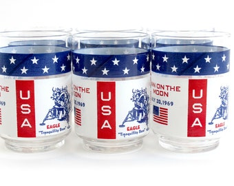 Apollo 11 Man On The Moon, Commemorative Drinking Glasses, Fourth of July Decor